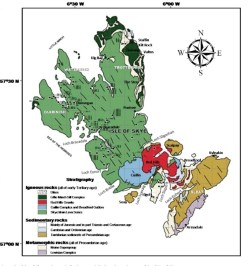 A map showing the structural geology of the island of Skye, in northern Scotland.