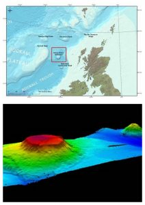 A geographical map showing the location of the Anton Dohrn sea mount and a computer 3D relief model showing its underwater elevation off the coast of Scotland.