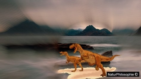 Artwork collage focusing on a drawing of Megalosaurus dinosaurs running on the shores of the Jurassic Isle of Skye. Image: Naturphilosophie