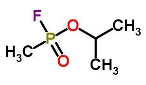 A 2-dimensional molecular conformation of Sarin isopropyl methylphosphonofluoridate.