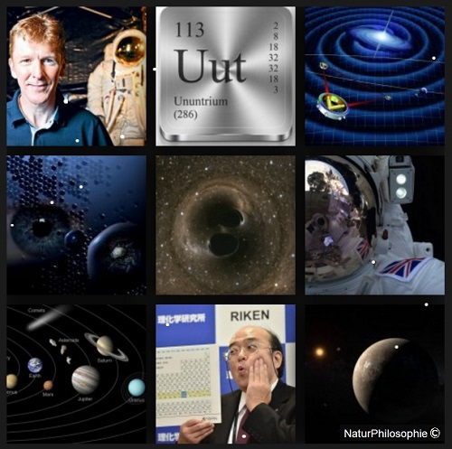 A photo-montage showing pictures of the recent scientific developments of the year 2016. From Major Tim Peake's extraordinary space adventure, to the discovery of missing elements in the Periodic Table, and the gravitational wave detection from a merger of black holes far away in outer space...  Montage: NaturPhilosophie