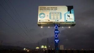 A photograph showing a specially designed advertising billboard, which produces drinking water from the air. Photograph: UTEC