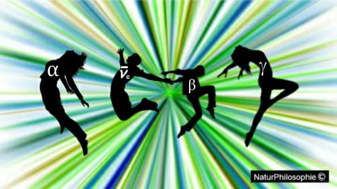 A picture showing dancing black silhouettes, each one bearing a Greek letter, over an abstract background symbolising a radiation event. Artwork: NaturPhilosophie