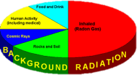 A pie chart showing what the highest proportions of background radiation are made of. At least 50% comes from radon gas. The remainder can be encountered in roughly equal portions through rocks and soil, food and drink, human medical activity, and cosmic rays.