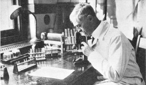 A black and white photograph showing Karl Landsteiner at work in his lab.