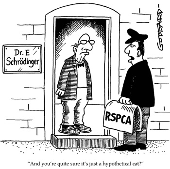 "A humoristic cartoon showing Dr E. Schrodinger receiving an impromptu visit from an RSPCA officer.  The caption goes: ""And you're quite sure it's just a hypothetical cat?"""