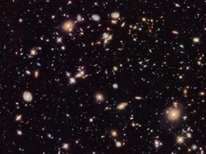 A historical Hubble Deep Field photograph.