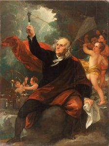 A Benjamin West oil on canvas painting of Benjamin Franklin depicted during his legendary experiment in a lightning storm with the kite and the key.