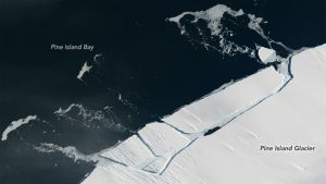 A NASA image showing the Pine Island Glacier rift from space.