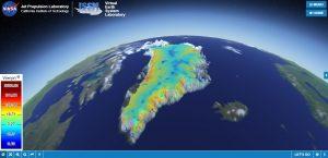 A NASA slide showing a simulation of the Greenland Basal Friction.