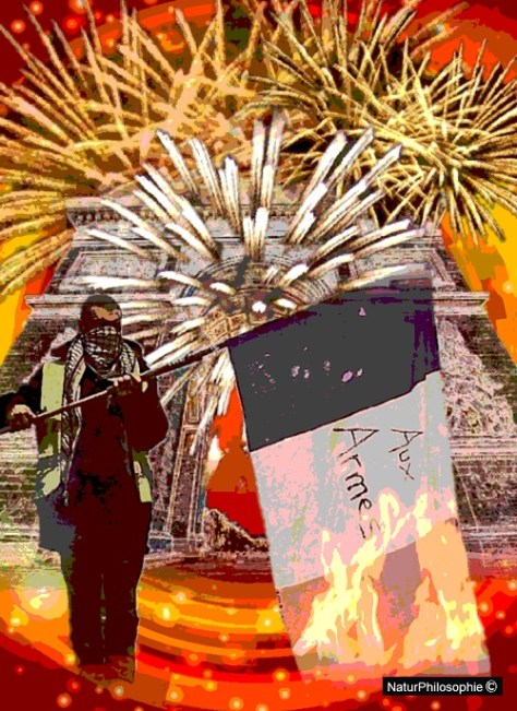 A composite image showing the Champs Elysees Arc de Triomphe in Paris under a shower of firework explosions, with a yellow vest demonstrator holding a burning French flag in the foreground.