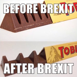 "A meme showing the traditional sized Toblerone bar and the reduced one. The commentary goes: ""Before Brexit"" (old), ""After Brexit"" (new)."