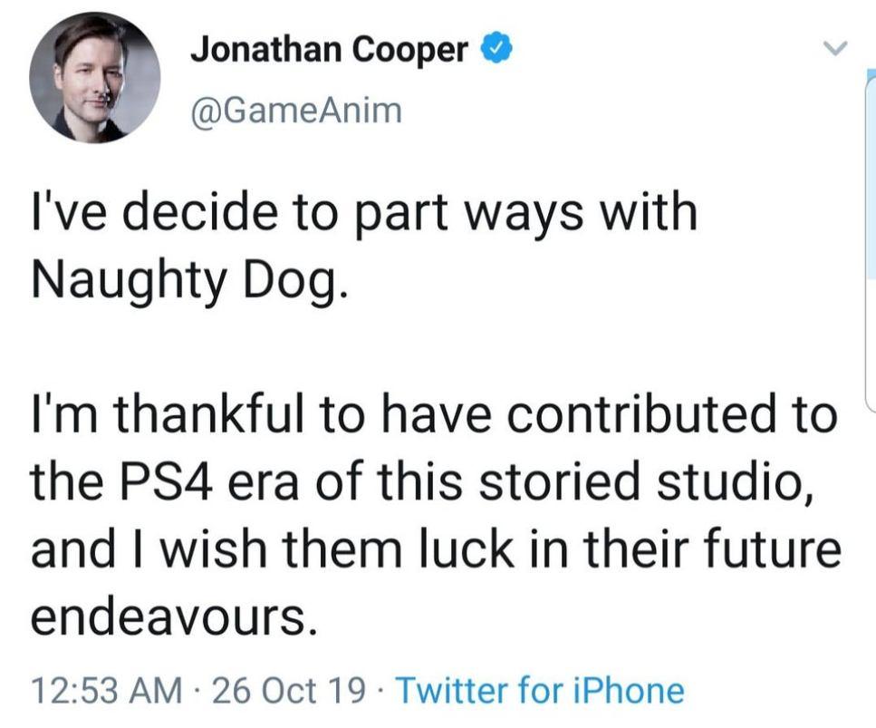 jonathan cooper naughty dog départ