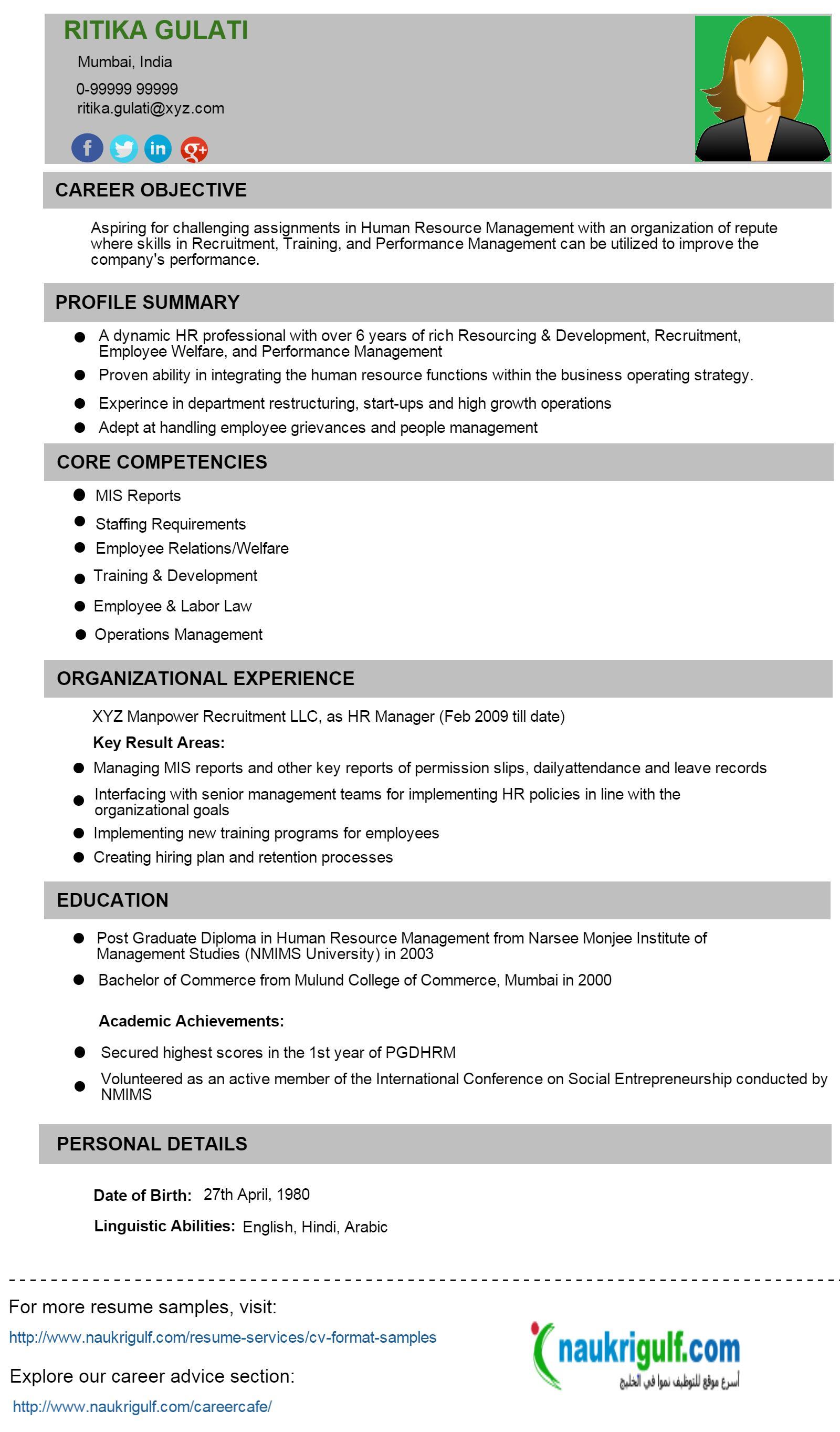 Human Resources Job Description For Resume Cover Letter