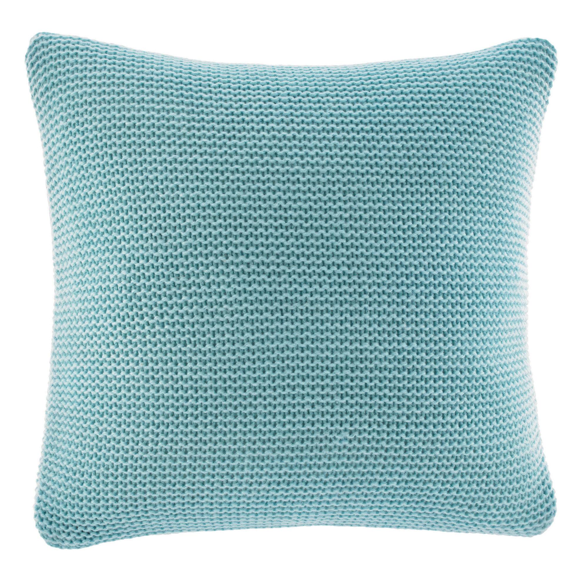 bell point aqua knit throw pillow