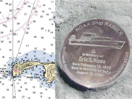 Koss Cove in Resurrection Bay as seen on chart 16702. Commemorative survey marker honoring Eric Koss (right).