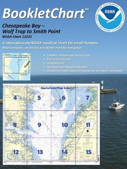 """Booklet charts are reduced scale copies of NOAA paper nautical charts divided into a set of a dozen 8.5"""" x 11"""" pages that show different portions of a chart."""