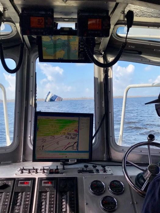 View of sunken vessel from navigation response team vessel.