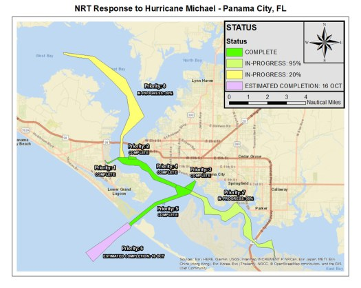 Map of navigation response team priority areas and completion status in Panama City