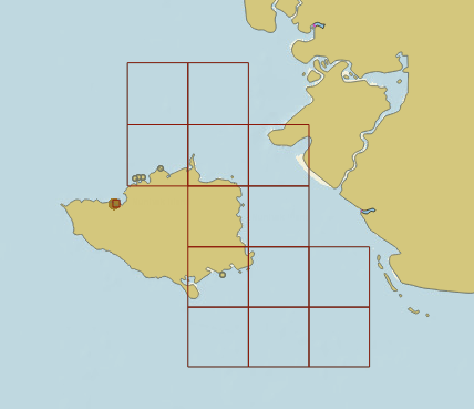The outlines of the thirteen new large scale (1:80,000) ENCs.
