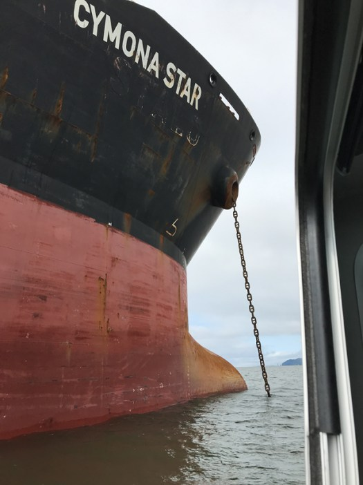 Bulk container ship anchored outside Astoria, OR on the Columbia River.