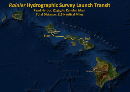 Map of the survey launches route from Pearl Harbor, O'ahu to Kahului, Maui.