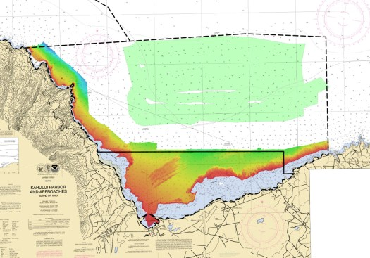 The green area was surveyed using wire drag. The colorful portion is preliminary multibeam data from the 2019 survey up to the navigation limit, which is 10m.