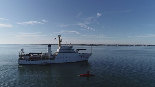 Drone photo of the DriX underway from the ship with the DDS still in the water.