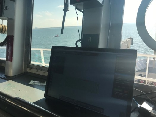 The HMI repeater screen used by the bridge with DriX in the background.