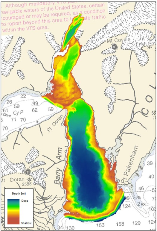 High-resolution multibeam bathymetry acquired by eTrac in Barry Arm.