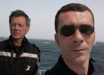 Bernard Giraudeau et Christian Cailleaux auteurs des Longues Traversées BD chez Dupuis à bord de la Jeanne d'Arc