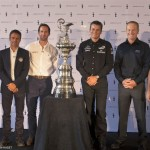 35th America's Cup, Skippers presentation press conference, London (UK), 09 Sept. 2014. L. to R.: Nathan Outteridge (Artemis Racing), Franck Cammas (Team France),Ben Ainslie (Ben Ainslie Racing), Dean Barker (Emirates Team New Zealand), James Spithill (ORACLE TEAM USA), Max Sirena (Luna Rossa Challenge).