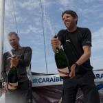 Thierry Chabagny et Erwan Tabarly, a bord du Figaro Gedimat, vainqueur de la Transat AG2R LA MONDIALE 2016 - Saint Barthelemy le 25/04/2016