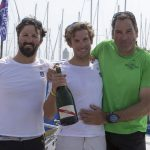Le Podium de la Le Havre Allmer Cup 2016 - Yoann Richomme (2eme), Charlie Dalin (vainqueur) et Gildas Morvan (3eme) - Le Havre le 28/05/2016