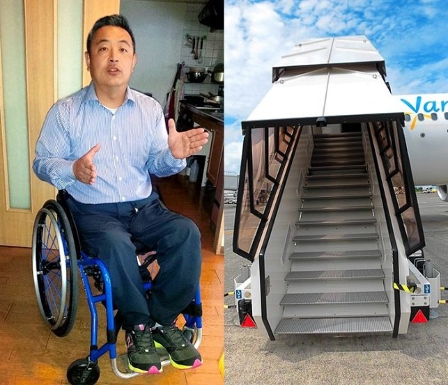 """Image search result for """"a man was forced to crawl up the stairs leading him to his plane."""""""