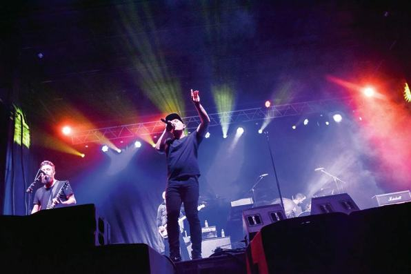 Navajo Times | Krista Allen Christian rock band Kutless performs on the Blue Canyon Memorial Stadium during the 49th annual Western Navajo Fair on Friday night in Tónaneesdizí.