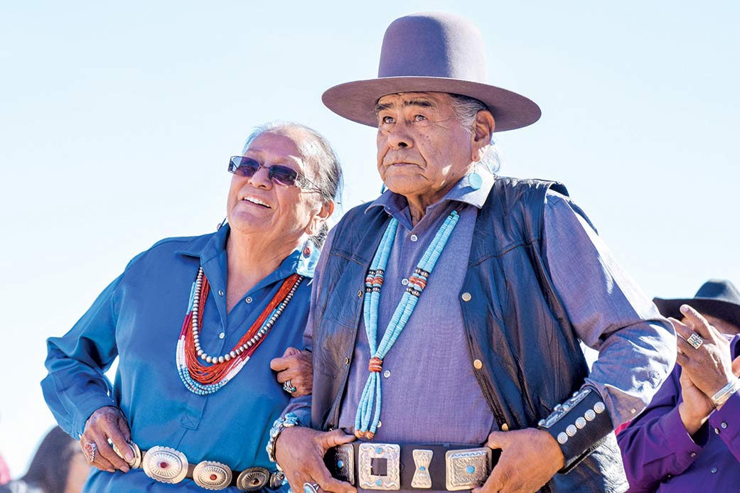 Navajo Times   Krista Allen Former Miss Western Navajo Elderly Ruby Greenstone from Shonto, Arizona, and Alex Begay from Waterflow, New Mexico, wait to dance in a round of two-step during the Elder Fest at the 28th annual Utah Navajo Fair on Oct. 27 in Bluff, Utah.