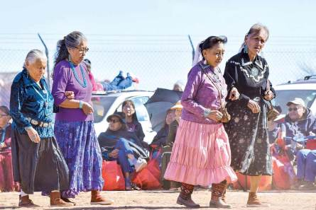 Navajo Times   Krista Allen With their arms linked, a group of women dance in a round of skip dance during the Elder Fest at the 28th annual Utah Navajo Fair on Oct. 27 in Bluff, Utah.