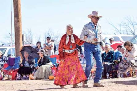 Navajo Times   Krista Allen Louise Nez, 76, dances with her husband, Dan Jim Nez, in a round of skip dance during the Elder Fest at the 28th annual Utah Navajo Fair on Oct.27 in Bluff, Utah. The couple is from Mariano Lake, New Mexico.