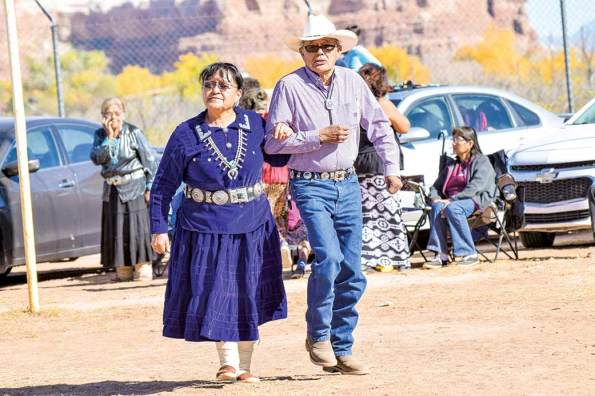 Navajo Times   Krista Allen Elsie Cly Benally and Tom Benally from Black Mesa, Arizona, dance in a round of skip dance at the Elder Fest during the 28th annual Utah Navajo Fair on Oct.27 in Bluff, Utah.