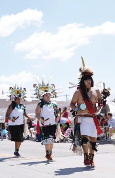 Navajo Times | Ravonelle Yazzie Hopi dancers perform at the Gallup Inter-Tribal Indian Ceremonial parade on Saturday in downtown Gallup.