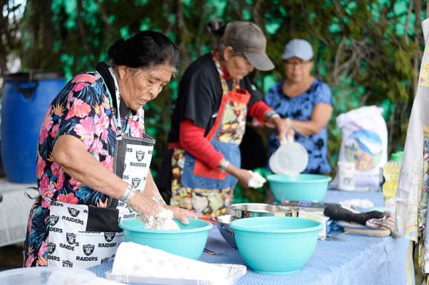 Navajo Times | Ravonelle Yazzie Ruth and Mary Pino compete in the frybread contest held at the Ramah Navajo Fair and Rodeo on Aug. 25.