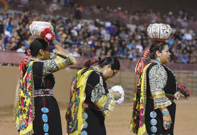 Navajo Times | Ravonelle Yazzie Three Zuni Olla Maidens get ready to perform at the Gallup Inter-Tribal Indian Ceremonial night performance on Friday night at Red Rock Park.