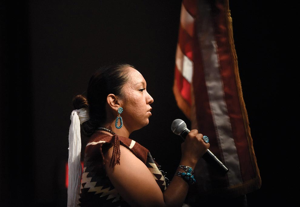 Singing Navajo Times | Ravonelle Yazzie Ashley Claw sings songs in Navajo for her traditional talent at the Miss Gallup Inter-Tribal Indian Ceremonial pageant on Aug. 9.