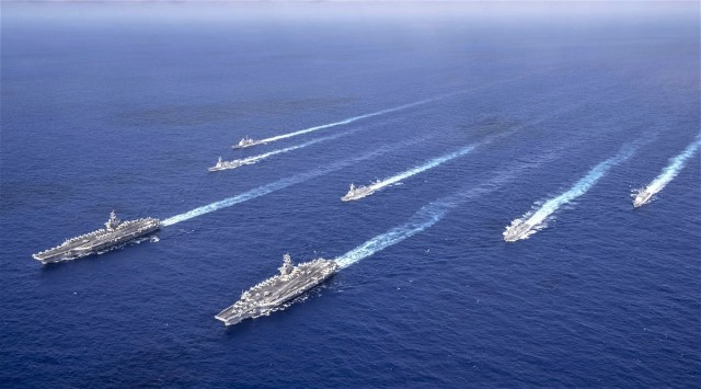 Theodore Roosevelt, Nimitz Carrier Strike Groups Operate Together in  Philippine Sea - Naval News