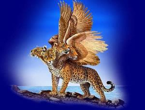 El leopardo con 4 cabezas y 4 alas de ave