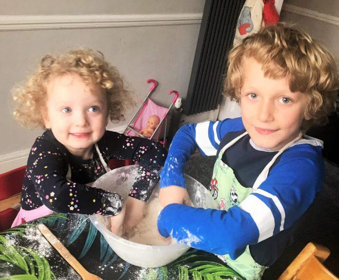 Siblings rainy day activity