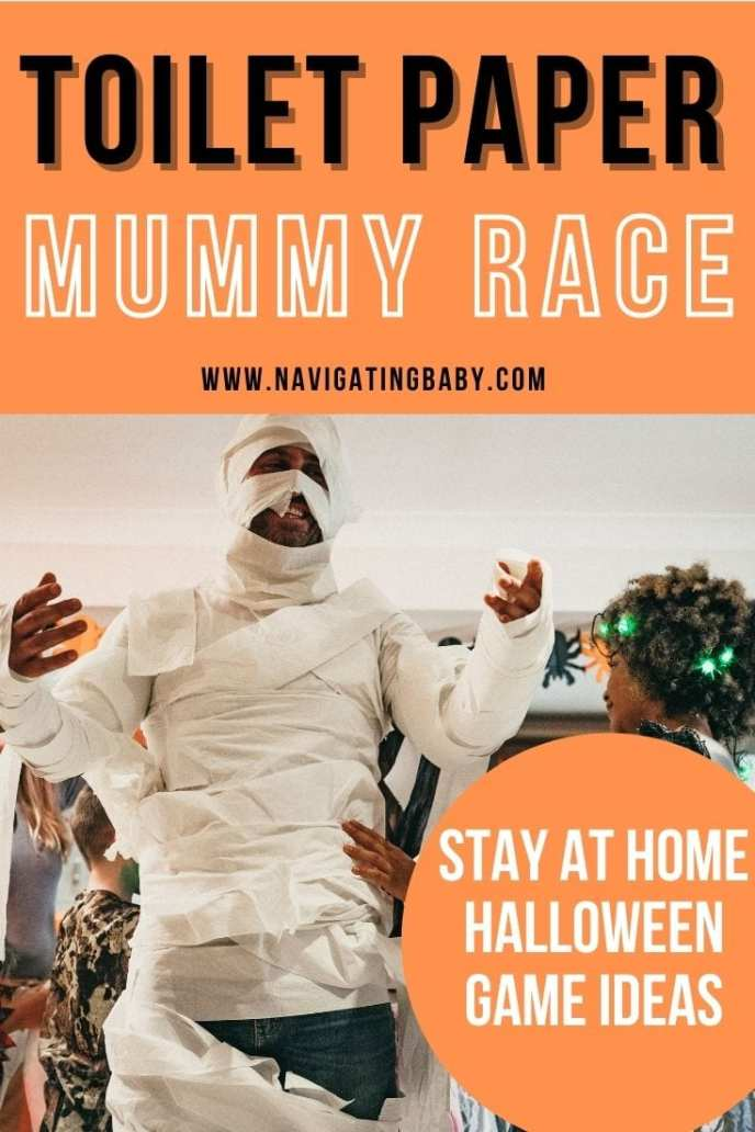 halloween at home game idea. Toilet paper mummy