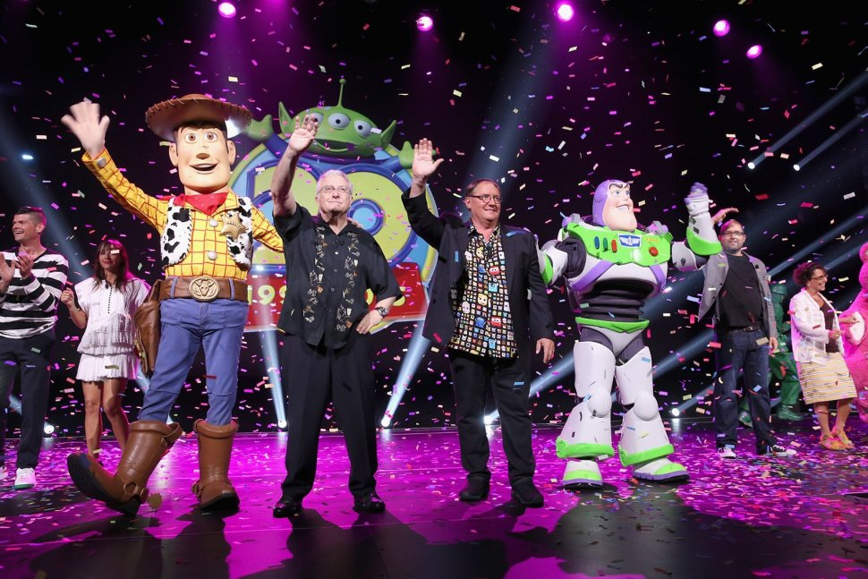 "ANAHEIM, CA - AUGUST 14: Composer Randy Newman of TOY STORY 1, 2 and 3 and director John Lasseter of TOY STORY 4 (C) took part today in ""Pixar and Walt Disney Animation Studios: The Upcoming Films"" presentation at Disney's D23 EXPO 2015 in Anaheim, Calif. (Photo by Jesse Grant/Getty Images for Disney) *** Local Caption *** Randy Newman; John Lasseter; Will McCormack; Rashida Jones; Galyn Susman; Josh Cooley"