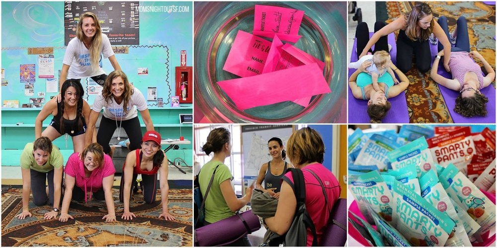 A collage of pictures from the fitness and wellness event